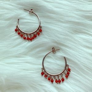 Sterling Silver and Italian Red Coral Earrings